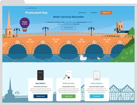 Worcester Bosch heating engineer website design by WigWag